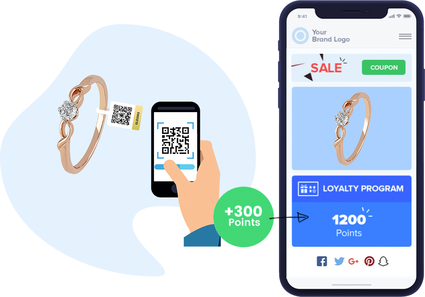 Buyer earns loyalty points on protected tag scan of jewelry