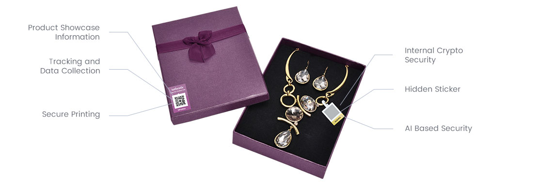Diamond necklace with NeuroTags open tag on the box and protected, hidden tag attached to necklace