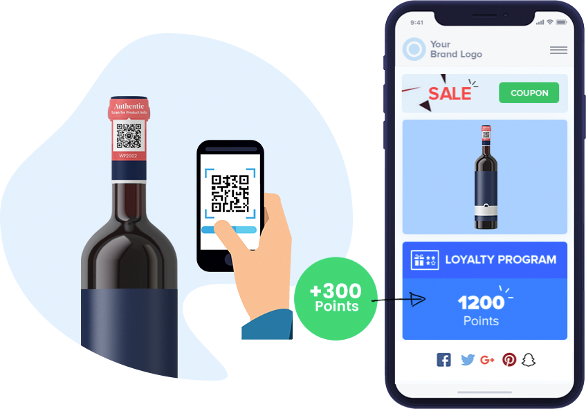 Customer scans Wine bottle tag using smartphone to earn loyalty points