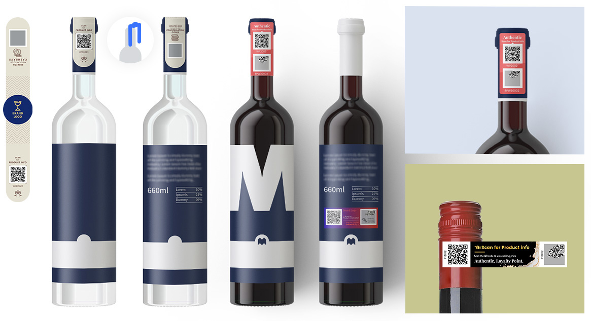 NeuroTags sample tag designs for Wine and Spirits