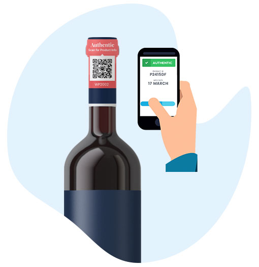 Wine bottle tag scan using a smartphone to check product authenticity